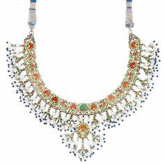 Indian Gold, Blue Enamel, Diamond, Biwa Pearl and Jaipur Enamel Fringe Necklace.
