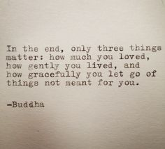 Only three things matter...