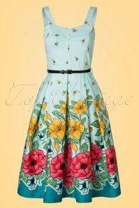 Lindy Bop Bernice Green Floral Dress 102 49 21877 20170403 0003W