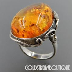 VINTAGE POLAND STERLING SILVER GORGEOUS BALTIC AMBER LEAF ORNATE COCKTAIL RING SIZE 7.25