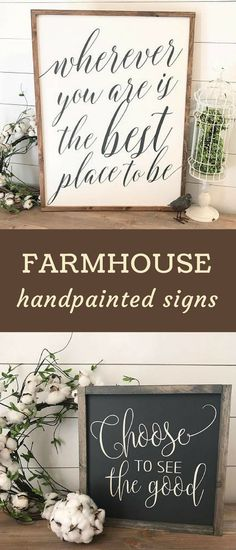 Farmhouse style home decor, Wherever you are is the best place to be, Choose to see the good, black and white chalkboard style typography art, painted wood, shabby chic decor, gift idea for a housewarming, hostess, or a Joanna Gaines / Fixer Upper fan. #affiliate