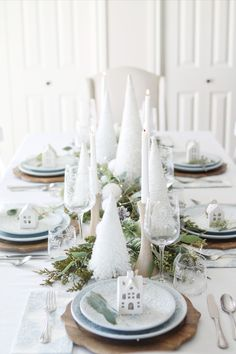 Set your Christmas table with our exclusive Nordic themed collection of icy blue dinner plates, white Christmas trees, and lightly tinted wooden chargers. White Christmas Trees, All Things Christmas, Christmas Holidays, Merry Christmas, Christmas Table Settings, Christmas Decorations, Table Decorations, Holiday Decor, Christmas Tables