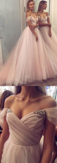 A-Line Princess Sleeveless Off Shoulder Tulle Beaded Long Dress