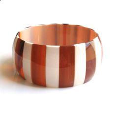 Genuine DuPont Lucite Striped Bangle Bracelet