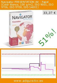 Navigator PRESENTATION A4 - Papel (Color blanco, 100 g/m2, ISO 9001, ISO 9706, ISO 9708, ISO 14001) (Productos de oficina). Baja 51%! Precio actual 33,37 €, el precio anterior fue de 67,44 €. http://www.adquisitio.es/navigator/presentation-a4-iso-9001