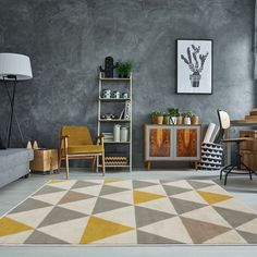 The Rug House Tapis de Salon tradtionnel Milan Triangles Motif arlequin Ocre Jaune Gris Beige x Coastal Living Rooms, Rugs In Living Room, Star Rug, Yellow Rug, Grey Yellow, Yellow Cream, Geometric Rug, Red Rugs, Blue Area Rugs
