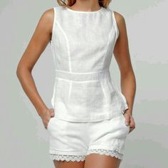 Keeping it simple and classy with a white linen peplum top Chic Outfits, Summer Outfits, Peplum Top Outfits, Peplum Tops, Kurta Designs, Blouse Designs, Indian Designer Wear, Blouse Styles, White Fashion