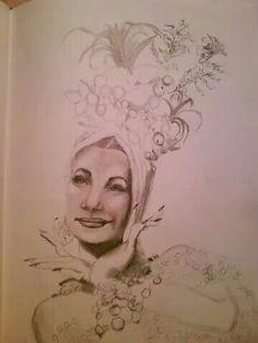 Pencil drawing of Carmen Miranda by Jeannine Idica