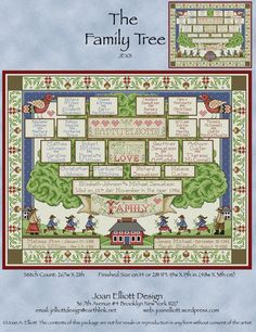 The Family Tree Cross Stitch Pattern Embroidery Patterns by Joan Elliott Cross Stitch Family, Cross Stitch Tree, Cross Stitch Needles, Cross Stitch Alphabet, Cross Stitching, Cross Stitch Embroidery, Embroidery Patterns, Cross Stitch Patterns, Family Tree Quilt