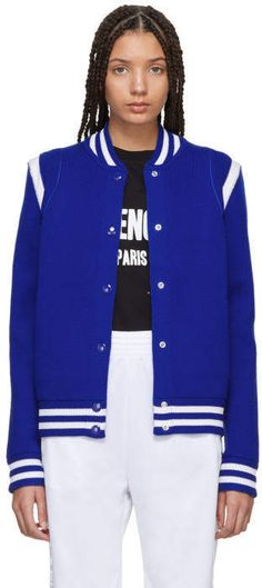 #affiliatead -- Givenchy Blue Knit Logo Bomber Jacket -- #chic only #glamour always