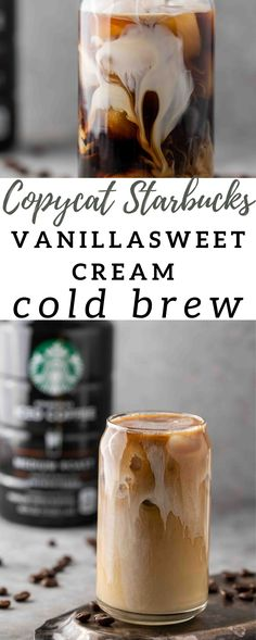 Iced Coffee At Home, Iced Coffee Drinks, Coffee Drink Recipes, Starbucks Recipes, Cold Brew Coffee Recipe Starbucks, Starbucks Drinks, Starbucks Vanilla Iced Coffee, Healthy Coffee Drinks, Starbucks Sweet Cream