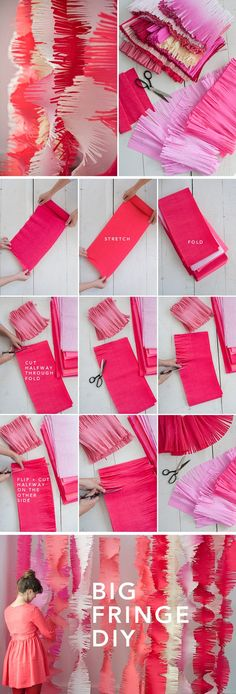 BIG FRINGE GARLANDS diy crafts craft ideas easy crafts diy ideas diy idea diy home easy diy party ideas crafty decor diy decorations party decorations party idea party craftFrans garlands instead of banners - Diy EventBig Fringe Garlands crepe paper Grad Parties, Holiday Parties, Birthday Parties, Festa Party, Party Party, Party Planning, Party Time, Diys, Creations
