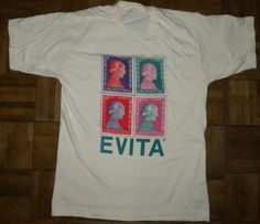 1990s 90s T-shirt / EVITA / tee / Eva Peron / Stamps  / Argentina / Vintage M - pinned by pin4etsy.com