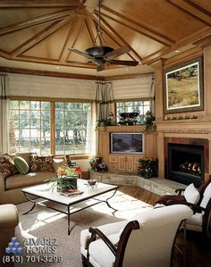 Wood Panel Ceiling in The Lodge Family Room by Tampa Luxury Home Builder Alvarez homes! Aline ♥