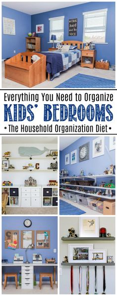 Kids' Bedroom Organization Ideas. Free printables and tips and tutorials to get your kids' bedrooms cleaned and organized for good. Free printables included as part of The Home Organization Diet.