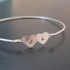 Personalized Custom Initial Heart Bangle Bracelet - Sterling Silver. $28.00, via Etsy.