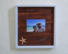 Simple Paper on top picture frame. Beachy Picture Frame. Rustic simple decor. Beach style. Nautical style. Coastal living. Vintage