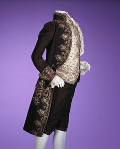 Late 18th Century French suit, coat and breeches of blue striped velvet with metallic thread embroidery, sequins and glass jewels.  Waistcoat of white figured silk with embroidery.  Kyoto costume institute. AC985 78-291AC
