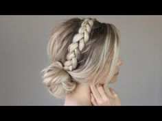 How to: EASY Effortless Bun w/ Braid Detail - YouTube