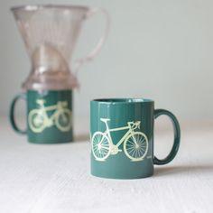 Bike mug - green and yellow - screen printed bicycle coffee cup via Etsy