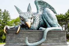 Gryphon Statue Unveiled at Entrance to University of Guelph Mythological Creatures, Mythical Creatures, Female Of The Species, Ontario Travel, Sculptures, Lion Sculpture, Eagle Wings, Witch Aesthetic, Public Art