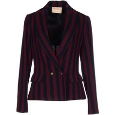 Erika Cavallini Semicouture Blazer ($320) ❤ liked on Polyvore featuring outerwear, jackets, blazers, maroon, maroon jacket, maroon blazer, pocket jacket, flap jacket and double breasted blazer