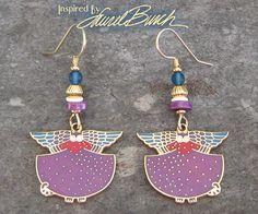 "Inspired By Laurel Burch VTG 1990's ""ANGELICAT"" CAT Cloisonne Earrings #LaurelBurch"