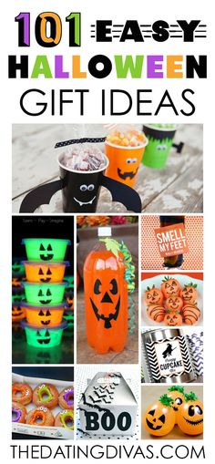 Over 100 cute and EASY Halloween gift ideas!  So many good ideas in here and most come with free printables.  www.TheDatingDivas.com
