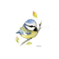 Blue tit painting baby bird print baby bird painting baby