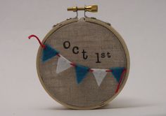 Embroidery hoop art. Baby's name and date of birth.