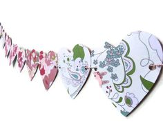 Love Heart Paper Banner Garland Wall Decoration by LoveStar1