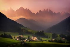 In Peace - Beautiful Hazy sunrise at Val Di Funes, Dolomites, Italy.  follow me on Facebook: Albert Dros Photography