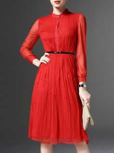 Buttoned Silk #Midi #Dress with Belt