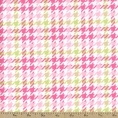 Cozy Cotton Houndstooth Flannel Fabric - Pink by Beverlys.com