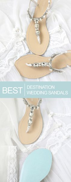 The Best Destination and Outdoor Wedding Sandals.  Bridal Flats and Sandals | Bella Belle Shoes. Pearl and rhinestone sandals.