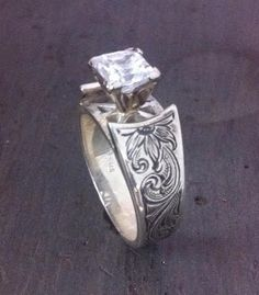 rodeo tales gypsy trails matt litz silversmith western rings fine silver engraving - Western Wedding Rings