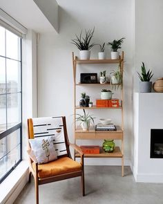 Storage ideas for small spaces with modern multipurpose furniture and adapting aspects of a minimalist lifestyle. Plus, loft living in Vancouver, BC. Tiny House Storage, Small Space Storage, Storage Spaces, Storage Ideas, Oak Shelving Unit, Oak Shelves, Wood Shelf, Chairs For Small Spaces, Small Space Living