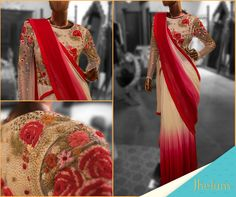 Opt for this ombre saree with floral embroidery by Varun Bahl for a stylish sun-downer.