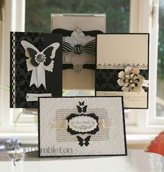 handmade card set ... black & cream ... butterflies, flower and lovely stamps ... Stampin' Up!
