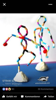I takt med personliga mål, framåt att önska!Bead or colored straw sculpture formsKinderaktivitäten, mehr als 2000 Malvorlagen - KunstStatues using pipe cleaners, beads and claymight a great idea instead of the foil figures? Or is this an armature Kids Crafts, Projects For Kids, Diy For Kids, Diy And Crafts, Arts And Crafts, Straw Art For Kids, 3d Art Projects, Art Education Projects, Recycled Art Projects