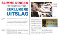 Artikel uit nr. 2 van Gymsport.NL over de ondersteuning van de ringen-jury door  Maurice Aarts op het EK Turnen in april 2015 Montpellier