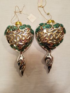 Glass Christmas Ornaments Vintage Love Hearts Lot of 2 Silver Holly Hand Painted