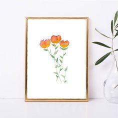 Instant Download Floral Print Watercolor Orange Flower