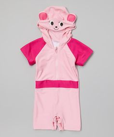 d6458e50da8ed Snappy Suits Pink Animal Hooded One-Piece Snap Rashguard - Toddler
