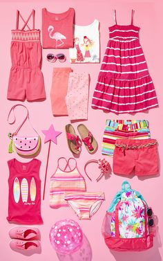 Warmer weather, warmer colors | Girls' fashion | Kids' clothes | Graphic tee | Active tee | Graphic tank top | Maxi dress | Printed shorts | Bathing suit | Tankini | Beach backpack | Purse | Headband | Sunglasses | Sneakers | Bike shorts | Beachwear | Vacation style | The Children's Place