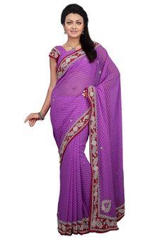Violet Color Chiffon Designer Saree