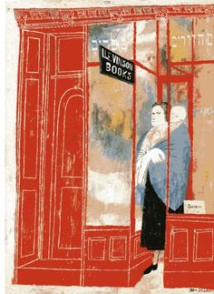 Ben Shahn:  Bookshop : Hebrew Books, Holy Day Books, 1953.  Tempera on wood;  scanned from Ben Shahn, by Frances K. Pohl, published by Pomegranate Artbooks, 1993.