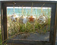 Christmas Ornaments-Set of 4 Sea Life Collection-Starfish Ornaments, Sand Dollar Ornament, Coastal Holidays, Gift Ideas, Beach Home Decor