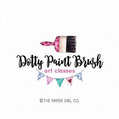 paint brush logo art teacher logo repurposed furniture logo premade logo art classes logo paint company logo children's art logo design