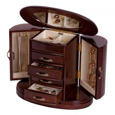 Shop online and save on wooden jewelry box w/ walnut finish, rounded design, mirror, upright style, decorative handles and more. Jewelry storage on sale. Jewellery Boxes, Wooden Jewelry Boxes, Jewellery Storage, Jewelry Chest, Jewelry Armoire, Jewelry Box Plans, Musical Jewelry Box, Round Design, Planer